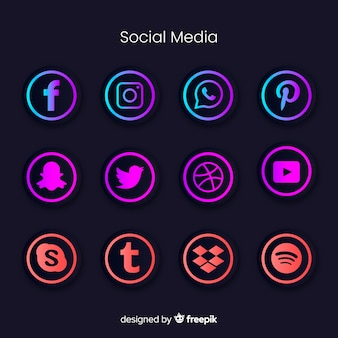 Gradient social media logo collection