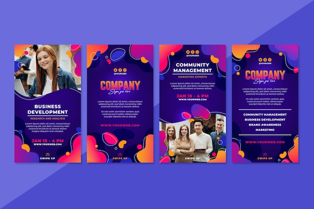 Gradient social media stories template with photo