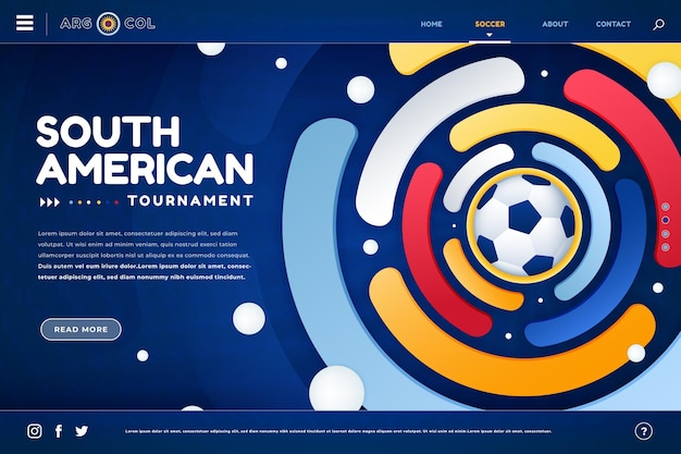 Pagina di destinazione del calcio sudamericano sfumato