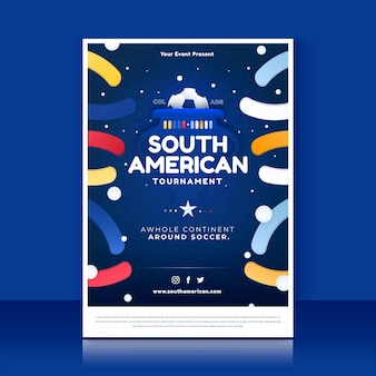 グラデーション南米サッカー垂直ポスターテンプレート