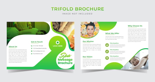 Gradient spa message trifold brochure template