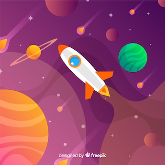 Gradient space background with rocket