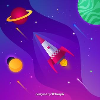 로켓과 그라디언트 공간 배경