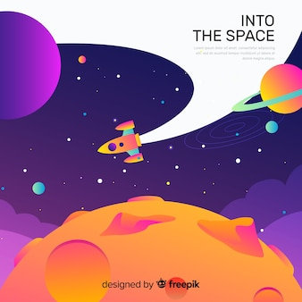 Gradient space with a rocket background