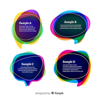 Gradient speech bubble collection on white background