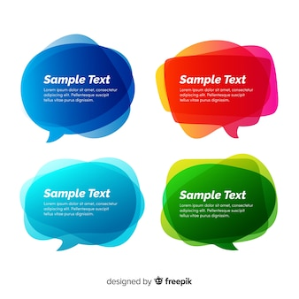 Gradient speech bubble collection with copy space
