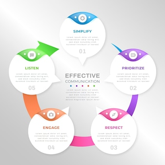Gradient speech bubbles infographics