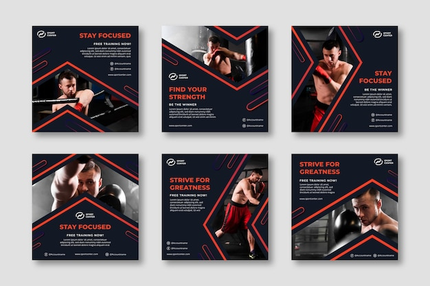 Gradient sport instagram posts collection with male boxer