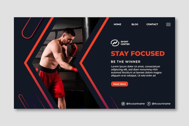 Gradient sport landing page template with male boxer