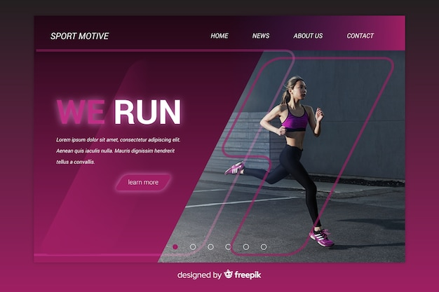 Gradient sport landing page with photo