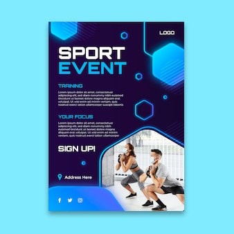 Шаблон градиентного спортивного плаката