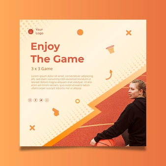 Gradient sport square flyer template