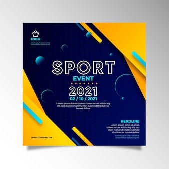 Gradient sport template square flyer