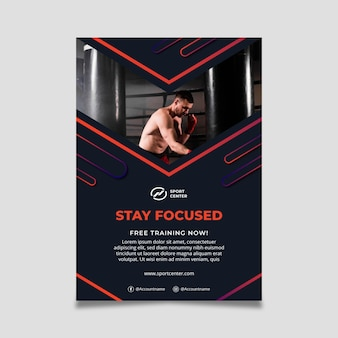 Gradient sport vertical flyer template with male boxer