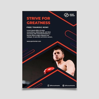 남성 권투 선수와 그라데이션 스포츠 수직 포스터 템플릿