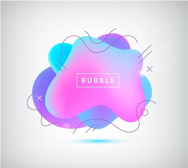 グラデーションスポット、波線のある泡。トレンディな鮮やかな色の抽象的な要素。