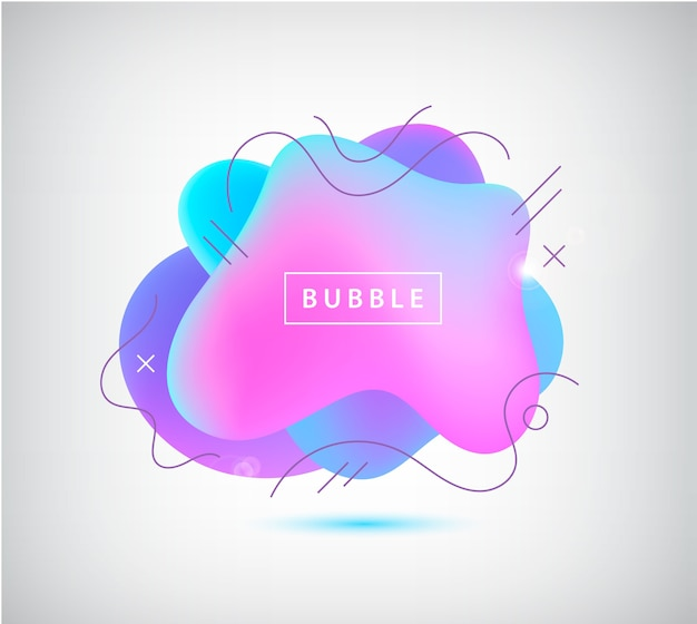Gradient spot, bubble with wavy lines. abstract element for trendy vibrant color .