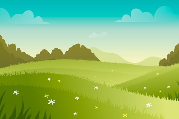 勾配の春の風景のコンセプト