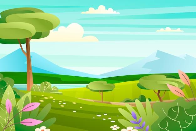 勾配のある春の風景デザイン