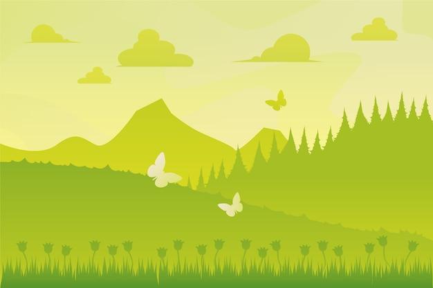 グラデーション春の風景の壁紙