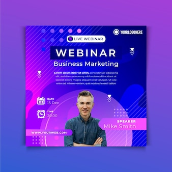 Gradient square flyer template with photo