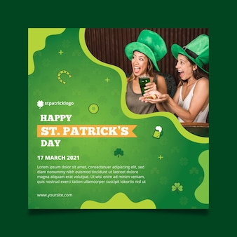 Gradient st. patrick's day squared flyer template