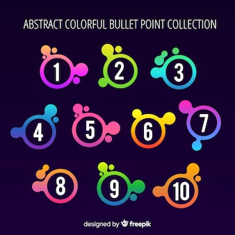 Gradient stain bullet point collection