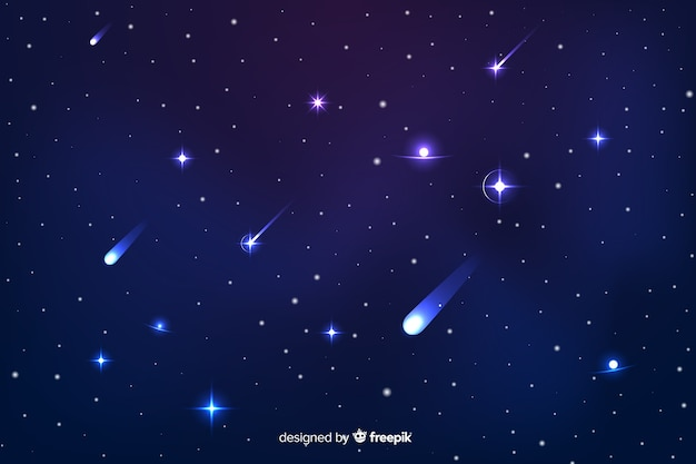 Gradient starry night background with galaxy