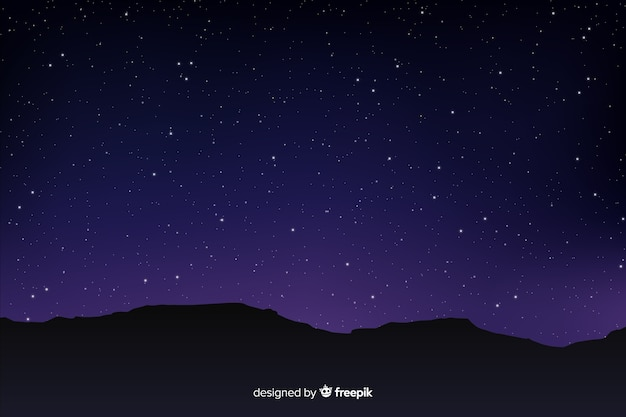 Gradient starry night sky with mountains