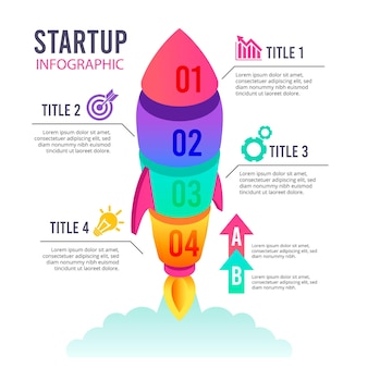 Gradient startup infographic collection