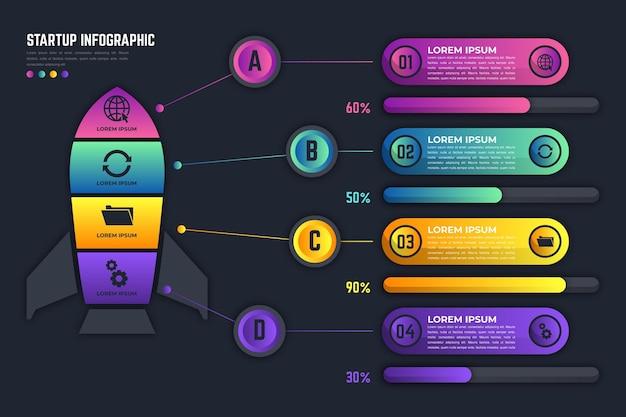 グラデーションスタートアップインフォグラフィックテンプレート