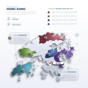 Infografica mappa di hong kong stile sfumato
