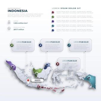 Инфографика карты индонезии в стиле градиента