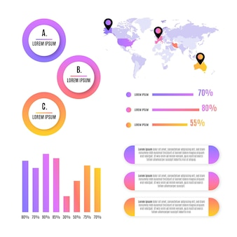 Gradient style infographic element collection