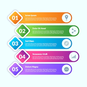 Gradient style infographic elements