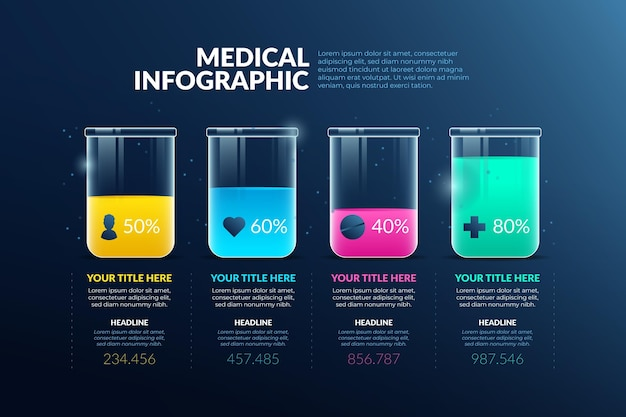 Gradient style medical infographics