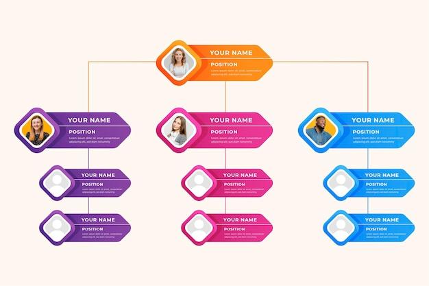 Gradient style organizational chart