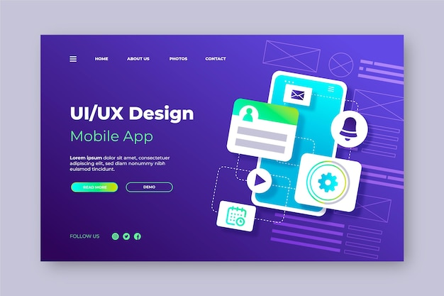 Gradient style ui/ux landing page template