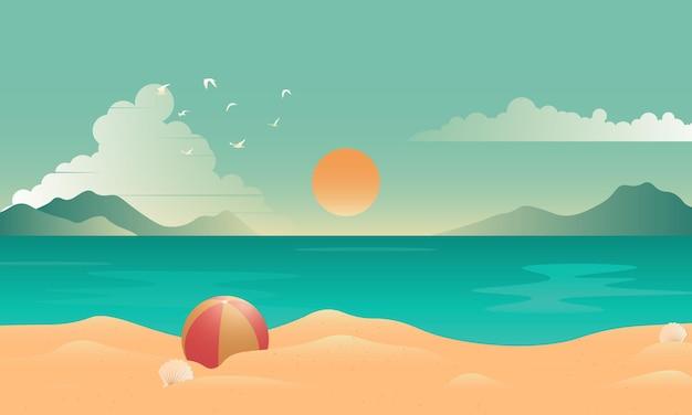 아름 다운 해변 풍경과 그라데이션 여름 배경입니다. 벡터 일러스트 레이 션.