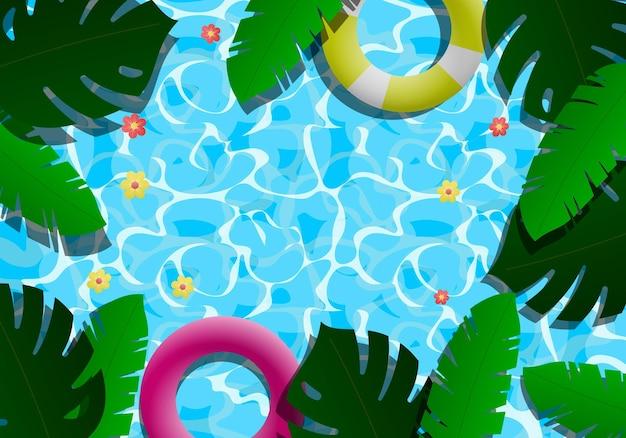 Градиентный летний фон с бассейном и листьями. векторные иллюстрации. абстрактный фон.
