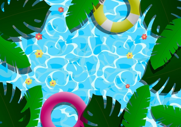 Gradient summer background with pool an leaves. vector illustration. abstract background.