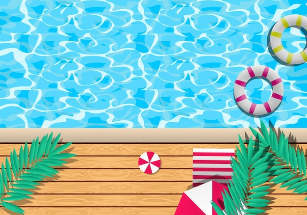 Gradient summer background with pool scenery. vector illustration.