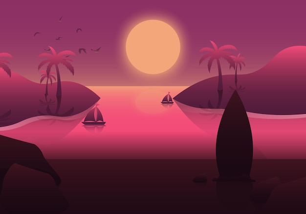Gradient summer background with sunset on the beach. vector illustration.