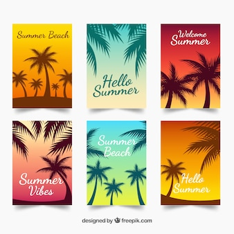 Gradient summer cards with silhouette palms