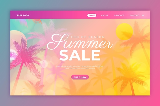 Gradient summer landing page template