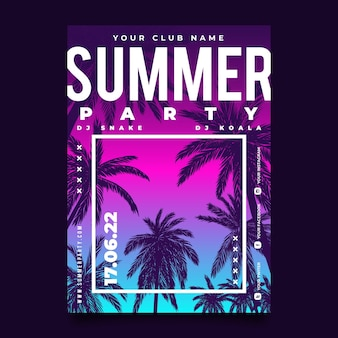 Gradient summer party poster template