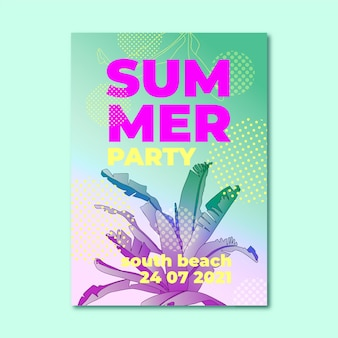 グラデーション夏のパーティー垂直ポスターテンプレート
