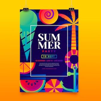 Modello di poster verticale gradiente festa estiva