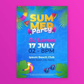 Шаблон вертикального плаката градиентной летней вечеринки