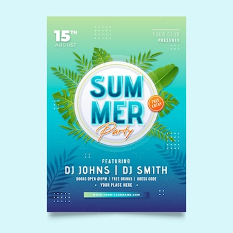Gradient summer party vertical poster template